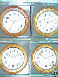 Lone Oak 12 Round Wall Clock * Glass Face  Wood Frame **FRAME IS CRACKED**