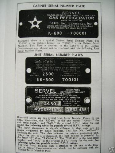 Servel Gas Refrigerator Service Manual For 1933