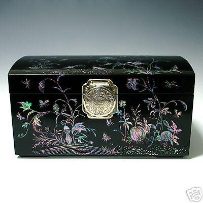 Pearl Handmade Lacquer Wood Decorative Keepsake Jewelry Box Chest Case